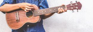 Young boy holding ukulele and playing